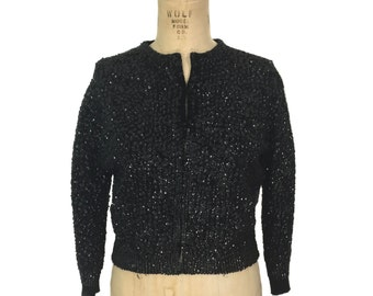 vintage 1950s black sequin sweater / wool / cardigan sweater / sparkly / holiday sweater / women's vintage sweater / size medium