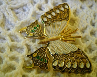 Vintage Butterfly Brooch, Cloisonne Butterfly Pin made in Spain, Damascene Bug Pin,  Enamel and Copper Bug Pin, Butterfly Lapel Pin