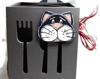 Ustensils pot with cat heads - Utensils pot for kitchen - Cats on utensils pot