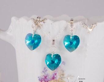 Blue turquoise Swarovski silver jewelry set with Vitrail medium heart Swarovski crystals, green, multi-colored Swarovski earrings, necklace
