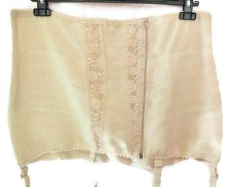 SALE Unworn Vintage 1960s Nude Powernet Lace Girdle Garters XXL Pinup Rockabilly Glamour sz 115 EUR Plus Size