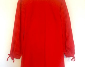 Mod Bright Red Party Dress with White Beading 70s Womens Small
