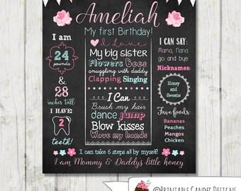 Shabby Rose 1st Birthday Chalkboard Sign - Cottage Chic Chalkboard Sign - Milestone Sign - Printable Stats Sign - 1st Birthday Custom Board