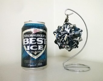 Milwaukee's Best Ice Beer Can Origami Ornament.  Upcycled Recycled Repurposed Art