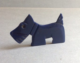 1940's French Handmade Scotty Terrier Dog Brooch Pin, blue, hand carved, celluloid, vintage brooch pin, Terrier dog, egst, Greece