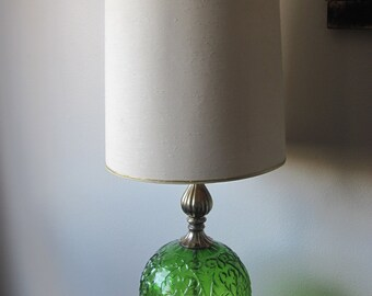 Vintage Retro Green Glass Lamp