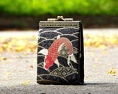 Business card holder Japanese fabric cranes and floral / Credit card organizer / Fold card case