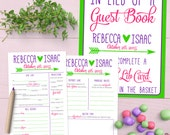Wedding Guest Book Alternative / Rehearsal Dinner Game / Reception Activity [Printable Predictions, Ad Libs, Wishes, Sketch, & Advice Card]