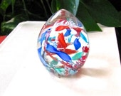 Vintage Murano Paperweight, Ribbon Egg, Latticino Scramble, Blues, Reds, Inside Clear Egg, Italian Glass, Excellent Condition