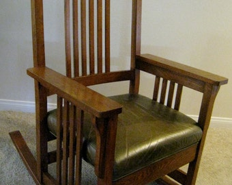 Mission arts and crafts rocking chair craftsman oak American made