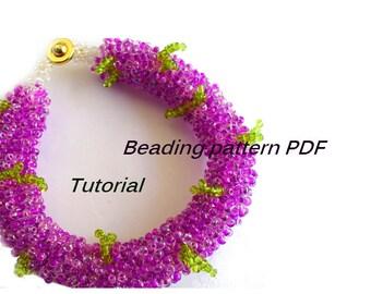 Bracelet Lilac. Beading Tutorial. Beading pattern PDF. Instant download.