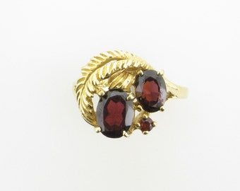 Yellow Gold Garnet Estate Ring with Feather or Leaf Motif; January Birthstone; Vintage Garnet Ring; Estate Garnet Ring; Right Hand Ring
