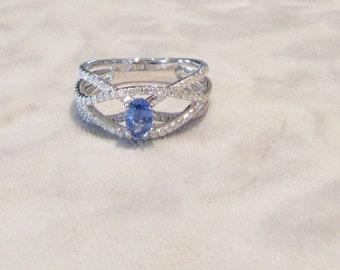 Sapphire and Diamond Right Hand Ring; Sapphire and Diamond Cocktail Ring; Blue Sapphire Ring; Blue Sapphire and Diamond Ring