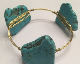 Gold Wire Wrapped Turquoise Stone Bangle Wire Wrap Bracelet - Bourbon and Boweties Inspired Bangle
