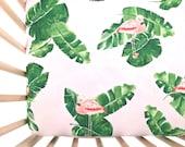 Crib Sheet Banana Leaves and Flamingos. Fitted Crib Sheet. Baby Bedding. Crib Bedding. Crib Sheets. Pink Crib Sheet.