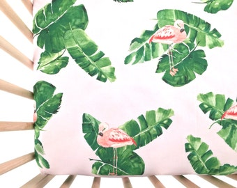 Crib Sheet Banana Leaves and Flamingos. Fitted Crib Sheet. Baby Bedding. Crib Bedding. Minky Crib Sheet. Crib Sheets. Pink Crib Sheet.
