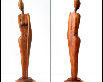 Vtg NUDE SCULPTURE 20in Wood FEMALE Abstract Art Figured Mahogany Hand Made Signed Louis Desire Dominica Statuesque Base Modern Art Ex Cond
