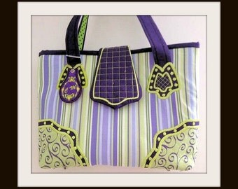 Ladies Handbag, Purple- Green Tote, Purse, Shoulder Bag, Bags and Purses