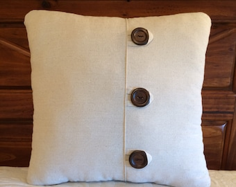 Pillow With Buttons, Beige Pillow, Natural Pillow, Farmhouse Decor, Accent Pillow, Throw Pillow, Beige Cushion, Button Accent Pillow