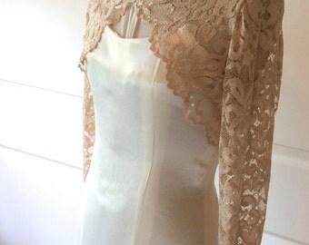 Stretch Lace Wedding/Prom Shrug/Bolero/Jacket in Champagne, Blush, Ivory, Black ,White & Navy.  XS to 5XL Plus size Style No. 202