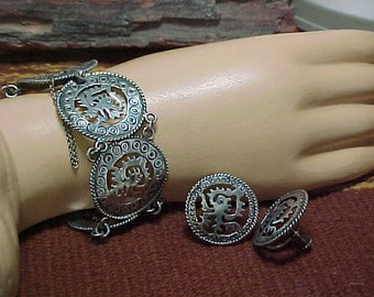 Taxco Jose Anton Bracelet & Earrings   Mexican Silver