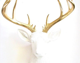X-Large Faux Taxidermy Deer Head wall mount hanging stag home decor office room decor:  Doug the XL Deer head in white with gold antlers