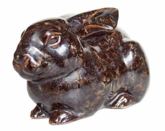 Gorgeous Vintage Rabbit Sculpture with Starburst Glaze. Artist-signed Statue of Bunny. Japanese Ceramic. Porcelain. Cast Slip.
