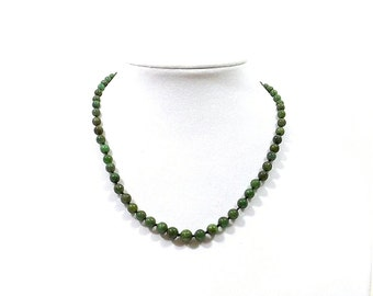 Vintage Hand-Tied Spinach Jade Graduated Bead Necklace