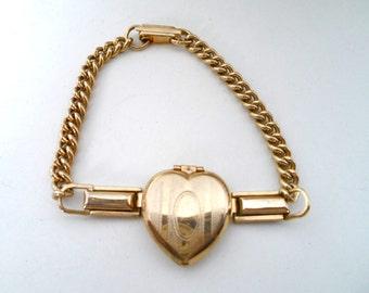 Vintage Gold Filled Sweetheart Locket Link Bracelet Photo Locket Bracelet Heart Locket Bracelet