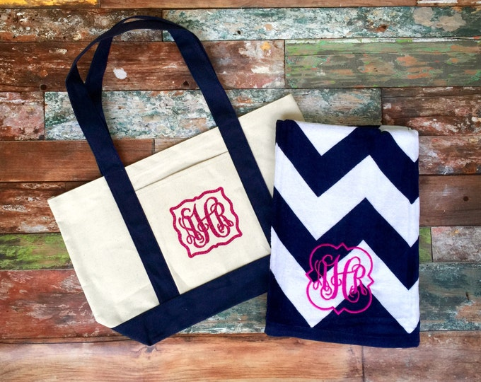 Monogrammed Beach Towel Matching Beach bag, Monogram Beach Bag, towel, Bridesmaid gifts, Embroidery, Heat Transfer Vinyl, Personalized gift