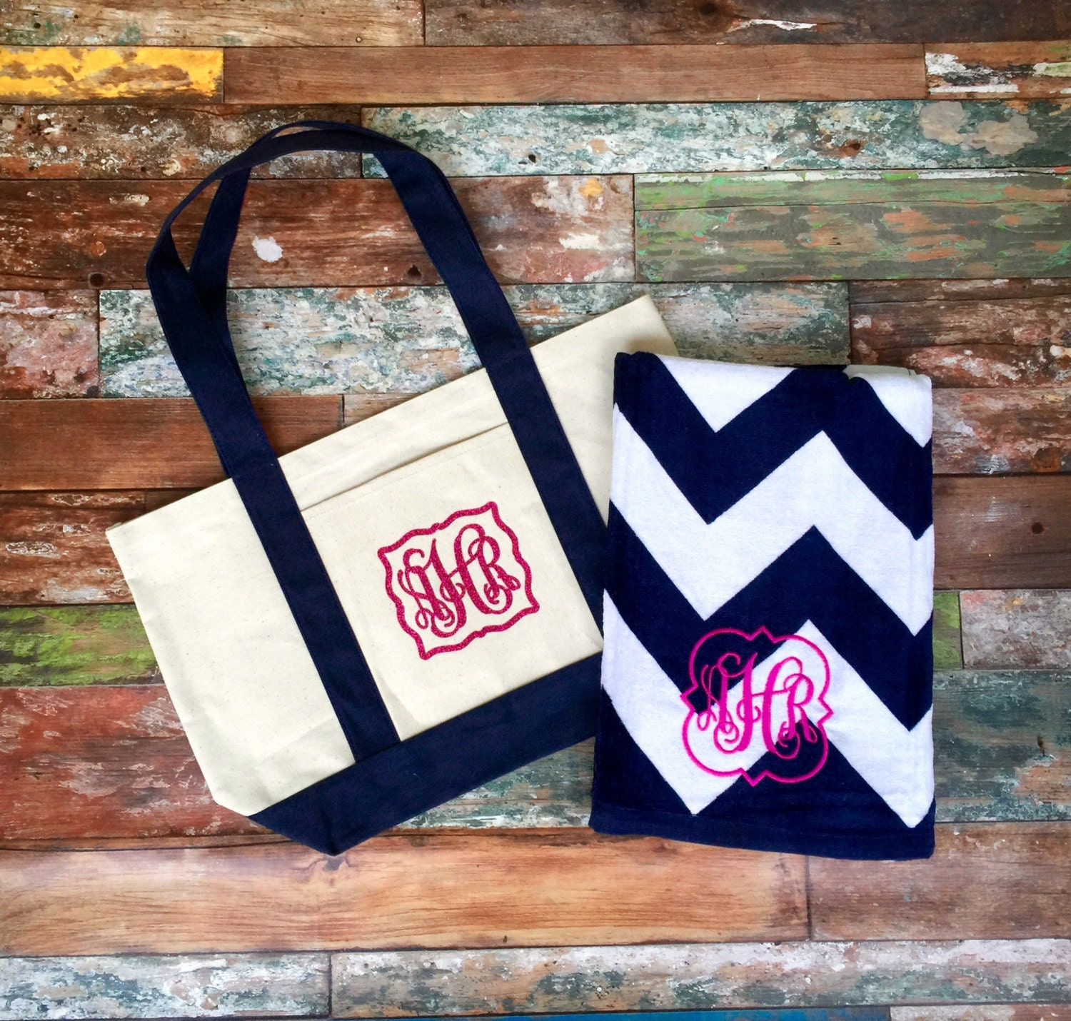 Monogrammed Beach Towel And Bag Set: Monogrammed Beach Towel Matching Beach Bag, Monogram Beach