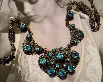 Art Deco Necklace 1920.s Czech Bridal Turquoise Blue Rhinestone  Filigree Choker