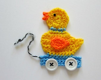 "1pc 4""  Crochet Blue PULL DUCK TOY Applique"