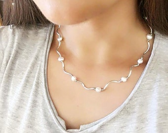 Pearl necklace, freshwater pearl necklace bridal necklace silver pearl necklace wedding - May, freshwater pearls on silver chain white pearl