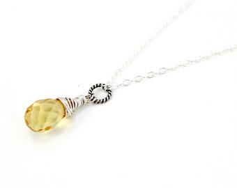 Citrine Yellow Faceted Crystal Solitaire Necklace / Sterling Silver Handmade Jewelry / Handcrafted Wire Wrapped Necklace