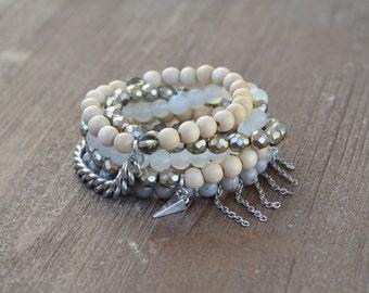 The Misty Stack - Beaded Stretch Bracelet Stack - Gray and Silver Bracelet Stack Set - Wood Bead Bracelet - Arm Candy - Charm Bracelet