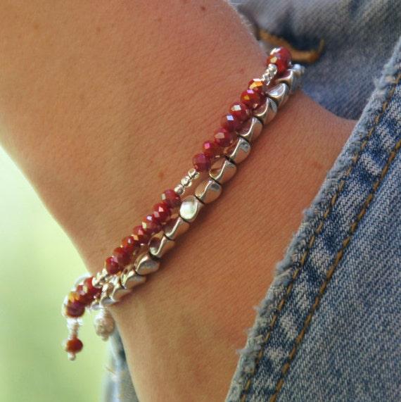 Designer Bracelet - Stacking Bracelet - Crystal Bead Bracelet - Simple Stack Bracelet - Beaded Bracelet - Delicate Friendship Bead Bracelet