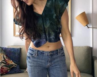 Tie-dye crop top, blue and green - repurposed materials