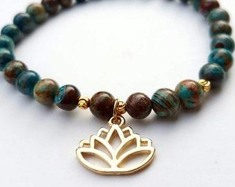 Gifts for Women, Gift for her, Valentines For Her, Mom Gift, Lotus bracelet, Sister Present, Blue bracelet, womens bracelet, Lotus Flower