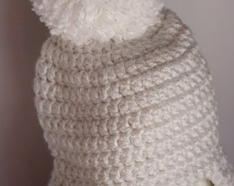 crochet baby hat, baby girl hat, newborn hat, crochet baby hat, photo prop, white, sparkle, hat with pompon, hat with earflaps
