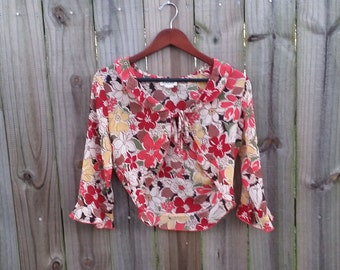 M L Medium Large Vintage Sheer 90s Alternative Grunge Boho Indie Festival Bolero Floral Tie Front Layering Top Shirt Blouse