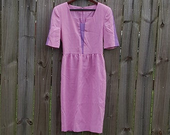 S M Small Medium Vintage 80s Pink Purple Spring Summer Secretary Modest Hipster Indie Garden Party Pretty Tea Dress