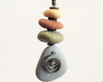 Blue Stone Necklace, Annealed Steel, Boho, Slag Glass