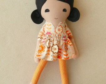 Fabric Doll Rag Doll Black Haired Girl in Old Fashioned Tan and Orange Floral Dress