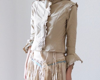 Jacket in Light Caramel Color with Mint Green or Pale Pink Accent and Ruffles