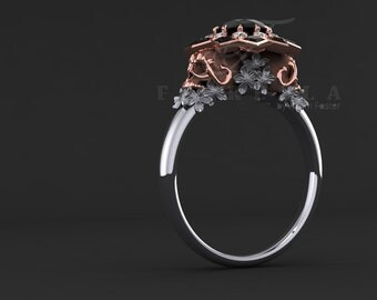 Black Diamond Floral Sugar Skull Engagement Ring 14K Gold Two Tone