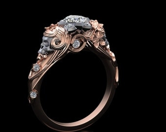 Art Nouveau Skull Ring Half Carat Princess Cut Diamond