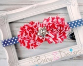 Stars and Stripes Shabby Headband in Red, White, and Navy Blue - Fits Newborn, Infant, Toddler, Girl, or Women