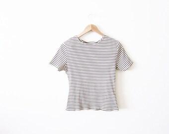 90s Shirt / Striped TShirt / Ribbed Stripe T-Shirt / Grunge Clothing
