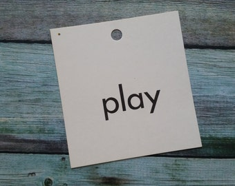 Vintage 1960's Word Flash Card for Peg Board | Play